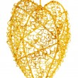Golden heart, christmas decoration — Stock Photo
