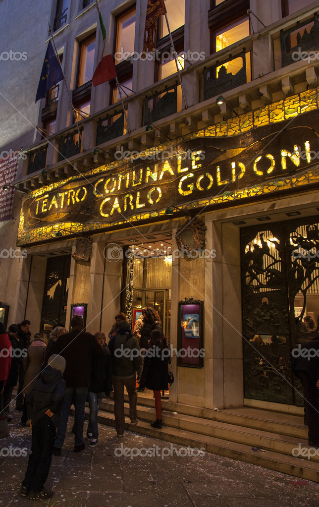 Venice,Italy- February 18, 2012: Evening image of the entrance to the Carlo Goldoni Theatre in Venice Italy.The theatre was named in honor of a famous local playwrig — Stock Photo #12520125