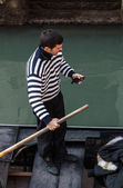 Gondolier Checking his Mobile Phone — Stock Photo