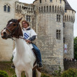 Medieval Woman Riding a Horse — Stock Photo