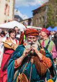 Medieval Street Piper — Stock Photo