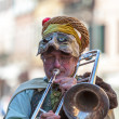 Funny Man Trombone Player - Stock Photo