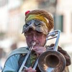 Funny Man Trombone Player — Stock Photo