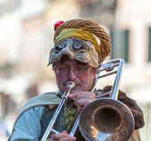 Funny Man Trombone Player — Stock Photo