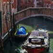 Motorboat on a Small Venetian Canal — Stock Photo