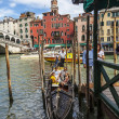 Gondola Near the Rialto Bridge — Stock Photo