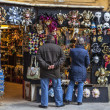 Tourists in Front of a Masks Shop in Venice — Stock Photo