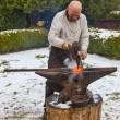 Blacksmith Working Outside in Winter — Stock Photo