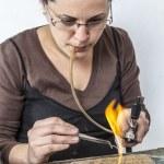Portrait of a Female Jeweler Working — Stock Photo