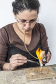 Portrait of a Female Jeweler Working — Stock Photo
