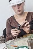 Female Jeweler Working — Stock Photo