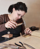 Female Jeweler Working — Stock Photo