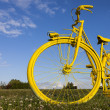 Old Yellow Bicycle in a Field - Stock Photo