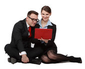 Couple on Notebook — Stock Photo