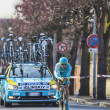 Постер, плакат: The Cyclist Maxim Iglinskiy Paris Nice 2013 Prologue in Houille