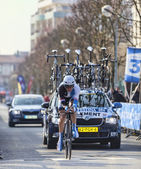 The Cyclist Clement Stef- Paris Nice 2013 Prologue in Houilles — Stock Photo