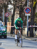 The Cyclist Malacarne Davide- Paris Nice 2013 Prologue in Houill — Stock Photo