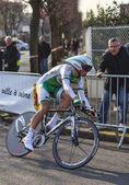 The Cyclist Simon Julien- Paris Nice 2013 Prologue in Houilles — Stock Photo