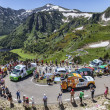 Publicity Caravan in Pyrenees Mountains — Stock Photo
