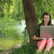Young Woman Studying Outside — Stock Photo
