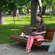 Young Woman Studying in a Park — Stock Photo #32974873