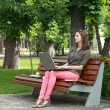 Young Woman Studying in a Park — Stock Photo