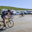 Stock Photo: Amateur Cyclists on Road to Col de Pailheres