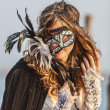 Woman with Colombina Mask — Stok fotoğraf
