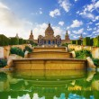 Placa De Espanya, the National Museum in Barcelona. Spain — Stock Photo