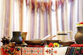 Ukrainian utensils put on the table in traditional style — Stok fotoğraf