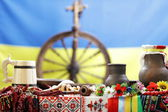 Ukrainian utensils put on the table in traditional style — Stock Photo