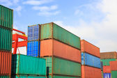 Stack of Cargo Containers in an intermodal yard — Stock Photo