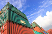Stack of Cargo Containers at the docks — Stok fotoğraf