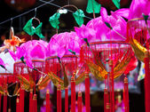 Hanging paper lotus festival lanterns — Stock Photo