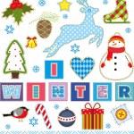 zimní sada textilních prvek — Stock vektor