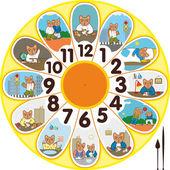 Clock Cat Schoolchild — Stock Vector