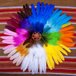 Painted Easter Egg Circle Feathers - Stock Photo