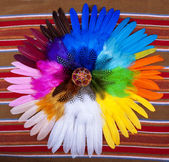Painted Easter Egg Circle Feathers — Stock Photo