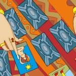 Tarot Card Reading Hand Banner — Stock Vector