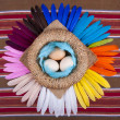 3 Eggs Rainbow Feathers Top View — Stock Photo