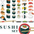 Stock Vector: Big Sushi Set