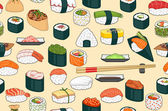 Sushi Seamless Background — Stock Vector
