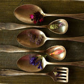 Old spoons with flowers — Stock Photo
