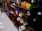 Shelves with variety colorful of plastic flower pot — Stock Photo