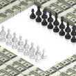 Chess battle on paper dollars - Stock Photo