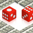 Dice on dollars — Stock Photo
