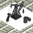 Oil derrick with dollars — Stock Photo