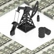 Oil derrick with dollars — Stock Photo #12601551