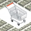 Shopping cart on paper dollars — Stock Photo #12601554