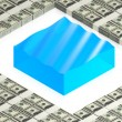 Water block with dollars — Stock Photo